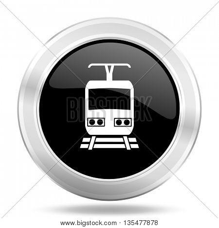 train black icon, metallic design internet button, web and mobile app illustration