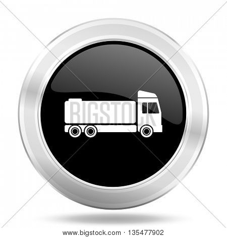 truck black icon, metallic design internet button, web and mobile app illustration
