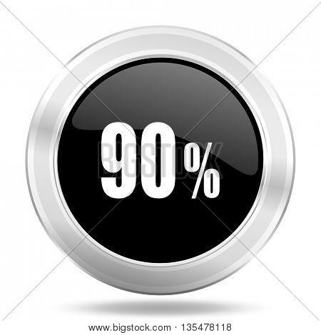 90 percent black icon, metallic design internet button, web and mobile app illustration