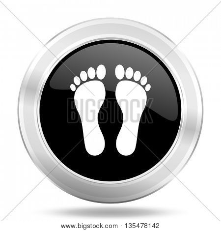 foot black icon, metallic design internet button, web and mobile app illustration