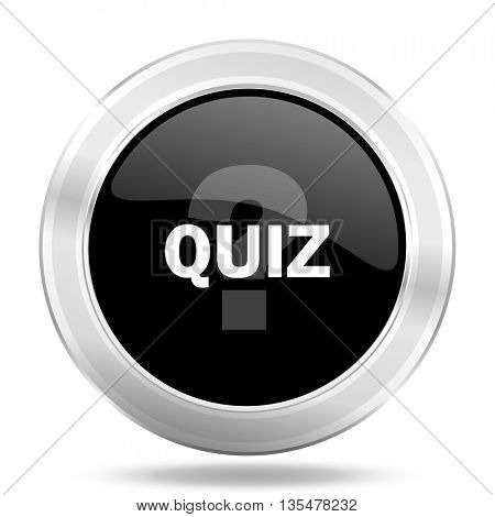 quiz black icon, metallic design internet button, web and mobile app illustration