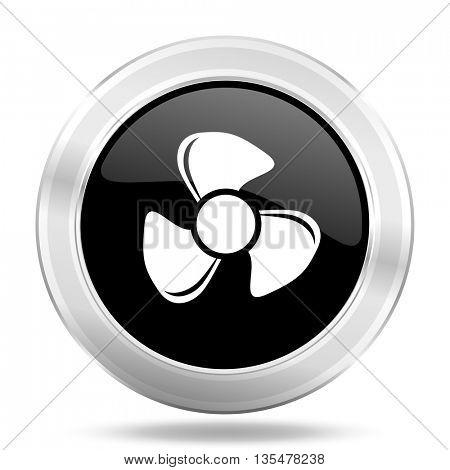 fan black icon, metallic design internet button, web and mobile app illustration