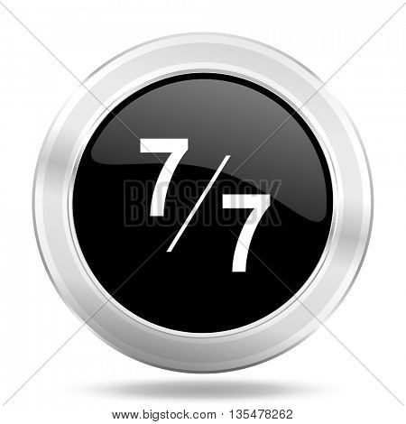 7 per 7 black icon, metallic design internet button, web and mobile app illustration