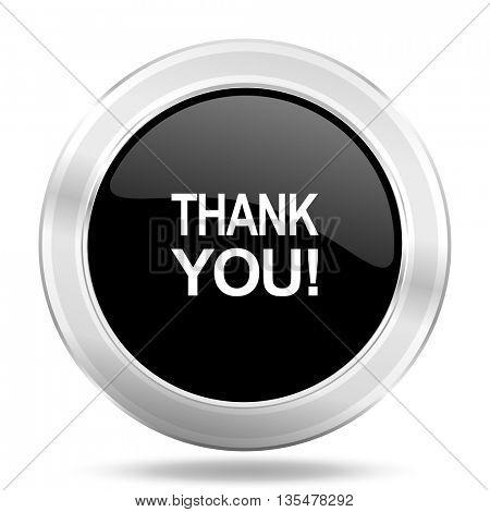 thank you black icon, metallic design internet button, web and mobile app illustration
