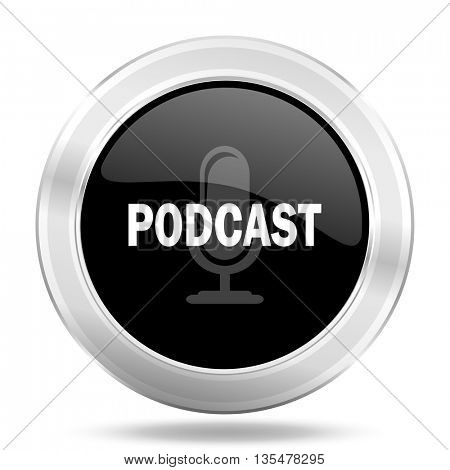 podcast black icon, metallic design internet button, web and mobile app illustration
