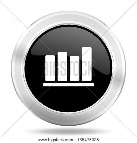 bar chart black icon, metallic design internet button, web and mobile app illustration