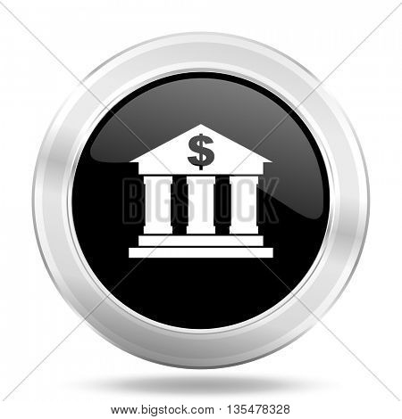 bank black icon, metallic design internet button, web and mobile app illustration