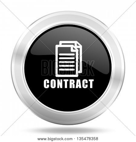 contract black icon, metallic design internet button, web and mobile app illustration