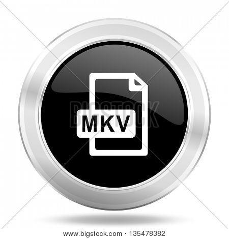 mkv file black icon, metallic design internet button, web and mobile app illustration