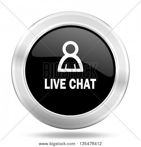 live chat black icon, metallic design internet button, web and mobile app illustration
