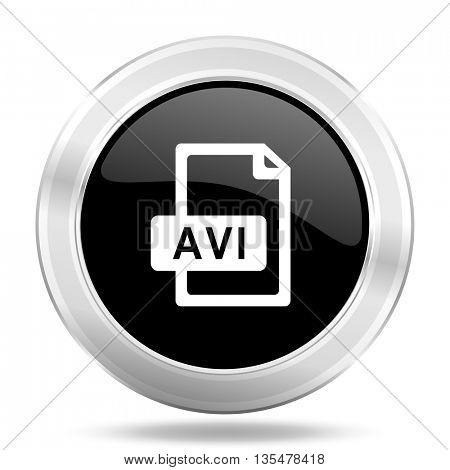 avi file black icon, metallic design internet button, web and mobile app illustration