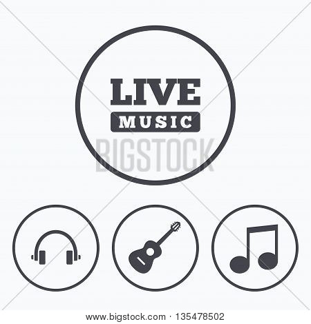 Musical elements icons. Musical note key and Live music symbols. Headphones and acoustic guitar signs. Icons in circles.