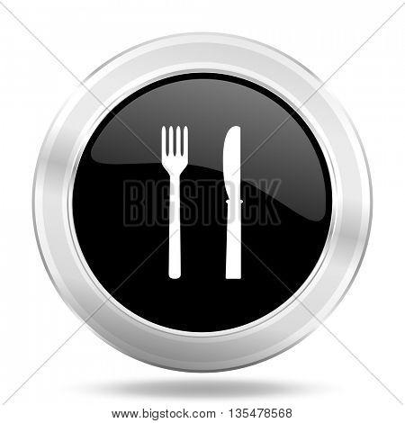eat black icon, metallic design internet button, web and mobile app illustration