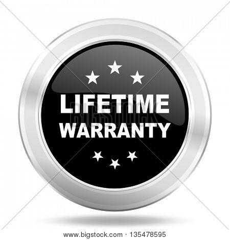 lifetime warranty black icon, metallic design internet button, web and mobile app illustration
