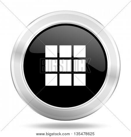 thumbnails grid black icon, metallic design internet button, web and mobile app illustration