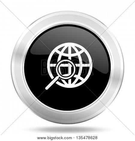 search black icon, metallic design internet button, web and mobile app illustration
