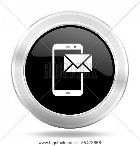 mail black icon, metallic design internet button, web and mobile app illustration
