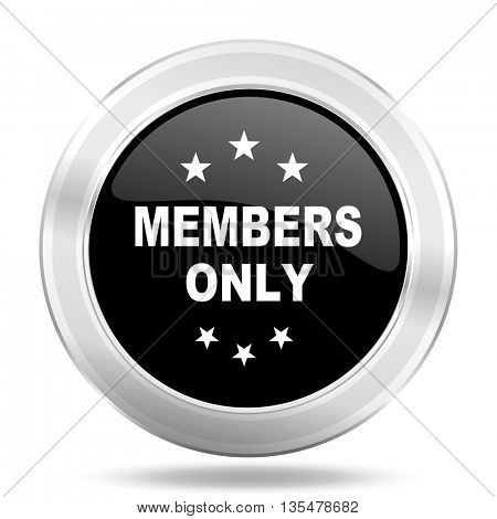 members only black icon, metallic design internet button, web and mobile app illustration