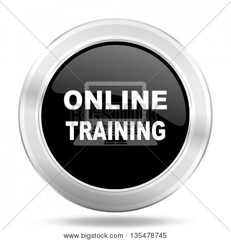 online training black icon, metallic design internet button, web and mobile app illustration
