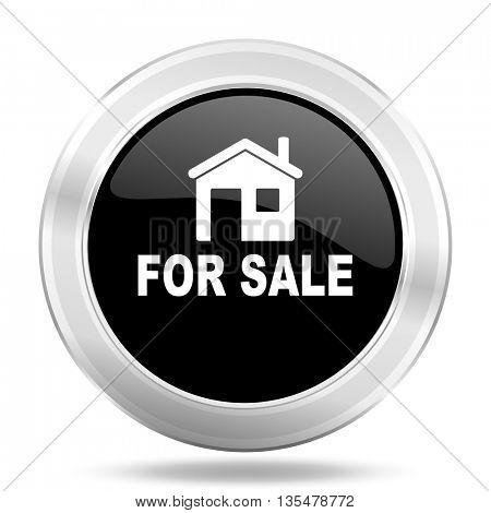 for sale black icon, metallic design internet button, web and mobile app illustration