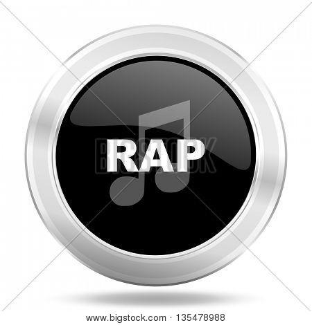 rap music black icon, metallic design internet button, web and mobile app illustration