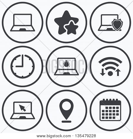Clock, wifi and stars icons. Notebook laptop pc icons. Virus or software bug signs. Shield protection symbol. Mouse cursor pointer. Calendar symbol.