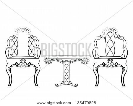Elegant Table and chairs furniture set quilted with leather ornamented in neoclassic style. Vector