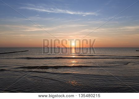 sunset over the ocean in summer for backgrounds