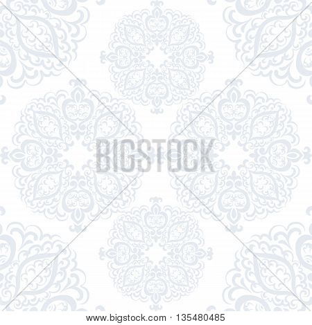 Delicate crochet lace round ornament. Traditional Oriental style ornament element for textile fabric design decor. Ornamental pattern for wedding invitations greeting cards. Vector
