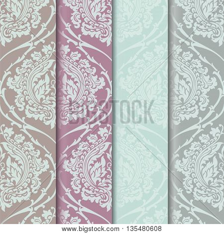 Floral ornament patterns collection. Elegant luxury textures for wallpapers backgrounds and invitation cards. Trendy color pallet. Vector