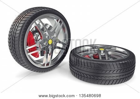 Two car wheel isolate on white backgorund with shadow 3d illustration