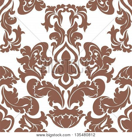 Vector floral damask pattern background. Luxury classic floral damask ornament royal Victorian vintage texture for textile fabric. Delicate floral baroque element. Russet color
