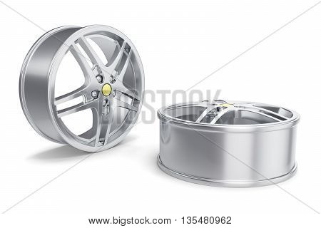 Car Alloy Rim isolated on white background 3d illustration