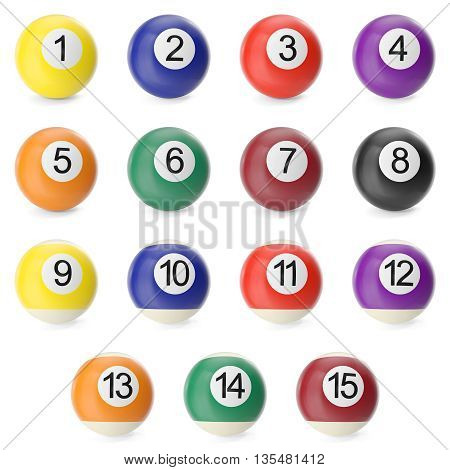 Set Collection of billiard balls isolated on white background with shadows. 3d high resolution illustration.