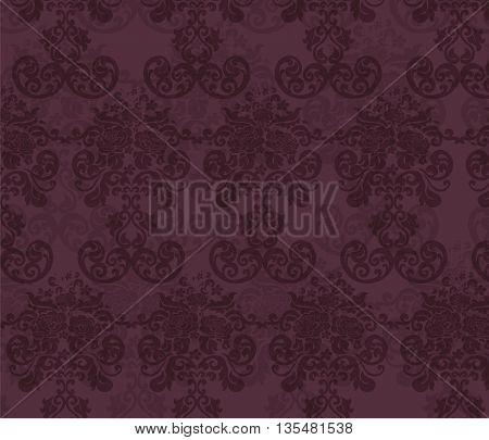Floral ornament pattern with stylized roses flowers . Elegant luxury texture for backgrounds and invitation cards. Winery Red colors. Vector