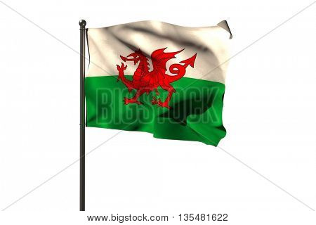 Waving flag of Wales on pole over white background