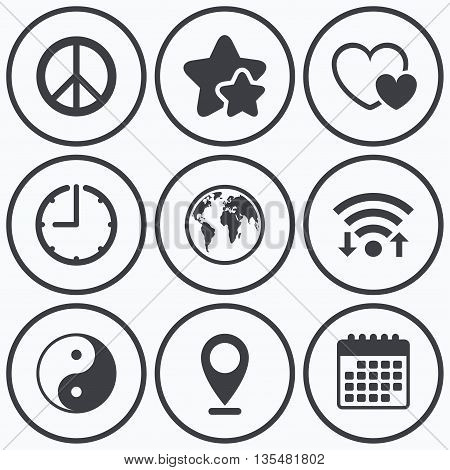 Clock, wifi and stars icons. World globe icon. Ying yang sign. Hearts love sign. Peace hope. Harmony and balance symbol. Calendar symbol.