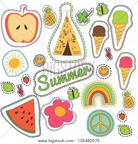 happy embroidery colorful summer patches collection. vector set illustration for stickers patches magnets greeting card decoration.