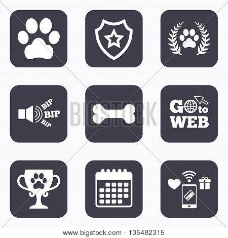 Mobile payments, wifi and calendar icons. Pets icons. Dog paw sign. Winner laurel wreath and cup symbol. Pets food. Go to web symbol.