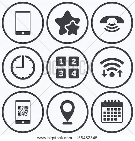 Clock, wifi and stars icons. Phone icons. Smartphone with Qr code sign. Call center support symbol. Cellphone keyboard symbol. Calendar symbol.