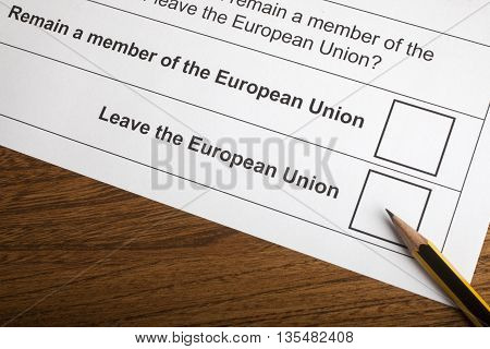 LONDON UK - JUNE 13TH 2016: The options on the EU Referendum Ballot Paper taken on 13th June 2016. The options are either for the UK to Remain in the European Union or Leave the European Union.