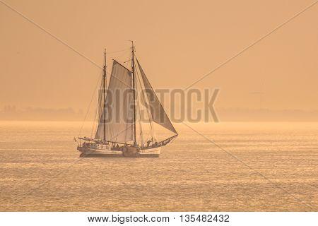 Vintage Sailing Ship Sunset