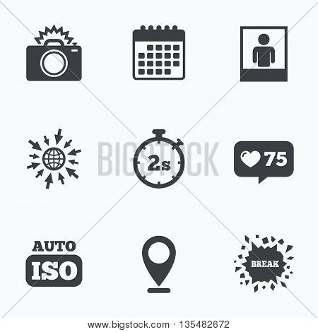 Calendar, like counter and go to web icons. Photo camera icon. Flash light and Auto ISO symbols. Stopwatch timer 2 seconds sign. Human portrait photo frame. Location pointer.