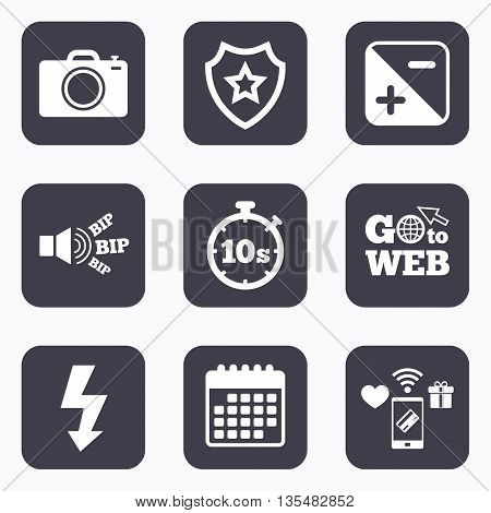 Mobile payments, wifi and calendar icons. Photo camera icon. Flash light and exposure symbols. Stopwatch timer 10 seconds sign. Go to web symbol.
