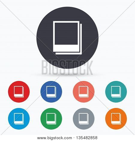 Photo frames template icon. Empty photography. Flat photo frame icon. Simple design photo frame symbol. Photo frame graphic element. Circle buttons with photo frame icon. Vector