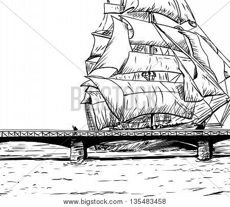 Outlined Clipper Ship And Skeppsholmsen Bridge