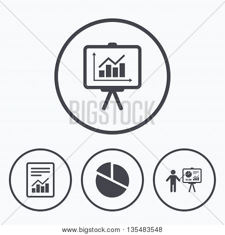 File document with diagram. Pie chart icon. Presentation billboard symbol. Supply and demand. Icons in circles.