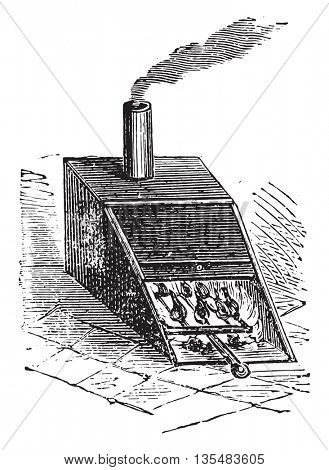 Smoker or Smoking Oven. From Domestic Life, vintage engraving, 1880.