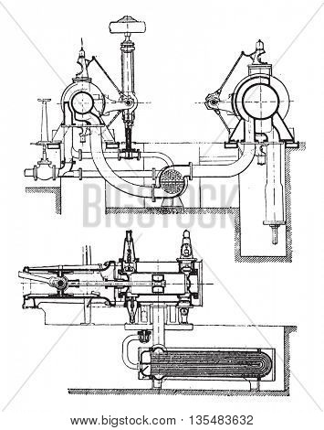 Machine Stork with Schmidt superheater system, vintage engraved illustration. Industrial encyclopedia E.-O. Lami - 1875.