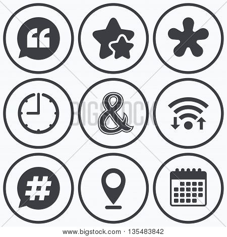 Clock, wifi and stars icons. Quote, asterisk footnote icons. Hashtag social media and ampersand symbols. Programming logical operator AND sign. Speech bubble. Calendar symbol.
